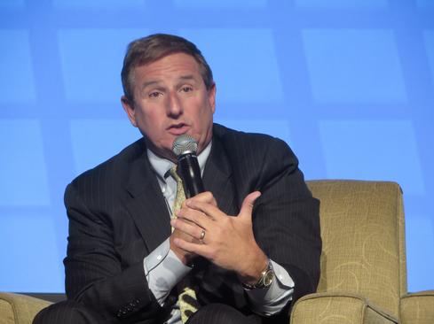 Oracle President Mark Hurd answers tough questions at the InformationWeek Conference at Interop in Las Vegas.