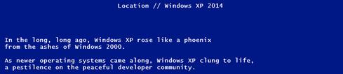 Microsoft's Escape From Windows XP game starts by spoofing the infamous 'blue screen of death.'