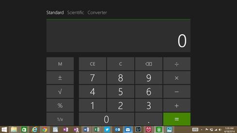 The taskbar remains accessible even when Modern apps run in full-screen mode.