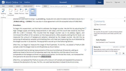 Word Online now includes more robust commenting tools.