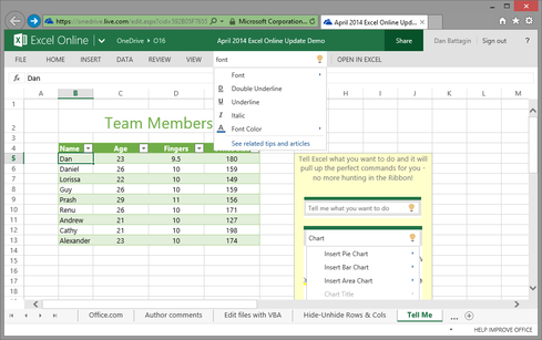Excel Online now includes Microsoft's Tell Me feature.