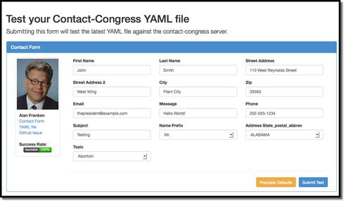 Sample of Congressional contact form developed on GitHub by the Electronic Frontier Foundation.