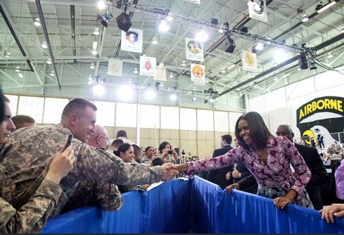 Michelle Obama at Veterans Jobs Summit and Career Forum. (Official White House Photo by Amanda Lucidon)