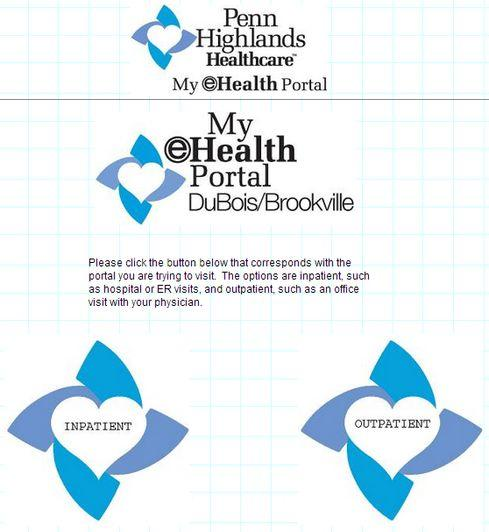 Penn Highlands Healthcare patient portal welcome page.