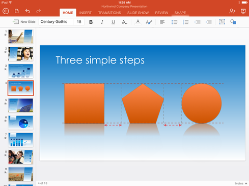 The PowerPoint iPad apps now includes SmartGuides.