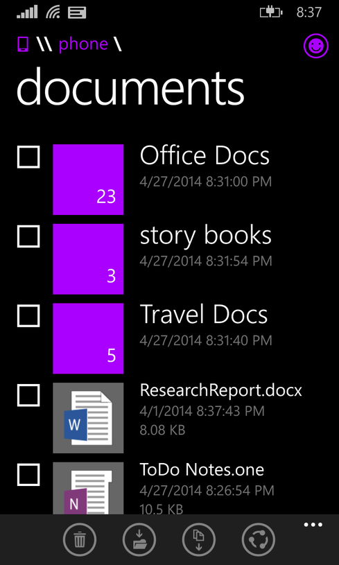 Windows Phone 8.1 will feature a file manager by later this year.