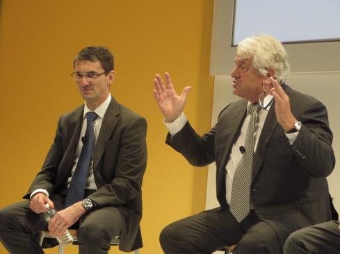 SAP executive board member Bernd Leukert, left, and chairman Hasso Plattner discuss Hana platform capabilities at Sapphire 2014.