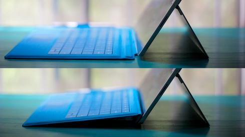 The new Type Cover can fold toward and magnetically connect to the Surface Pro 3's body, providing more stability for lap use.