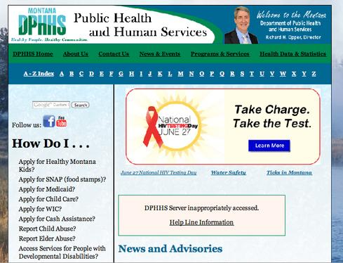 DPHHS website displays help line information for potentially affected patients (Source: Montana DPHHS)