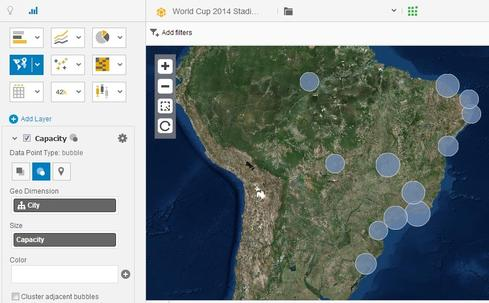 An Esri-enabled data visualization developed in SAP Lumira shows the location and relative capacity of World Cup stadiums within Brazil.