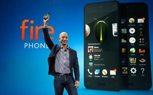 Jeff Bezos with Amazon Fire Phone