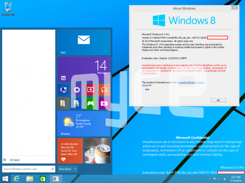An alleged screenshot from a leaked build of Windows 'Threshold' shows the revamped Start menu. (Source: Myce.com)