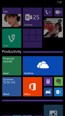 Windows Phone 8.1 Update's Live Folders.