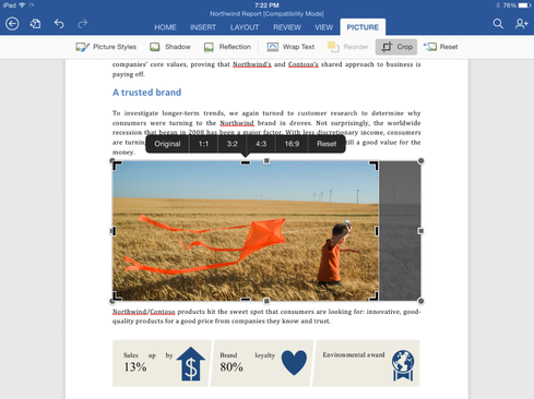 Word for iPad includes a new tool for cropping photos, as well as the ability to export files as PDFs.