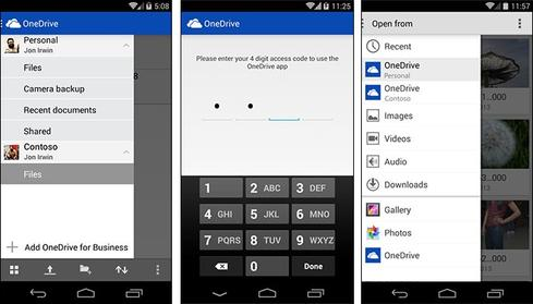 OneDrive for Android users can now access both personal and business accounts.