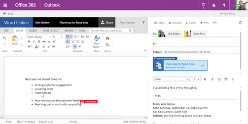 OWA's 'side-by-side' view allows users to edit shared documents without leaving the email interface.