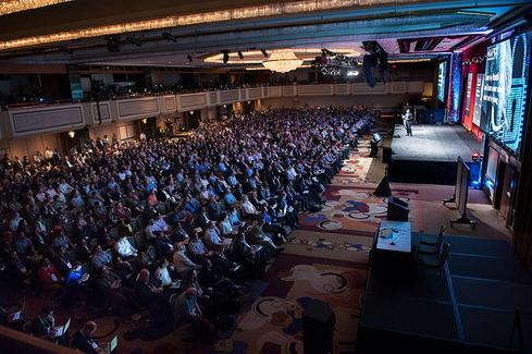 Cloudera made its announcements on the eve of Strata+Hadoop World, where attendance will double compared to the 2013 conference, shown here.(Source: O'Reilly Media)