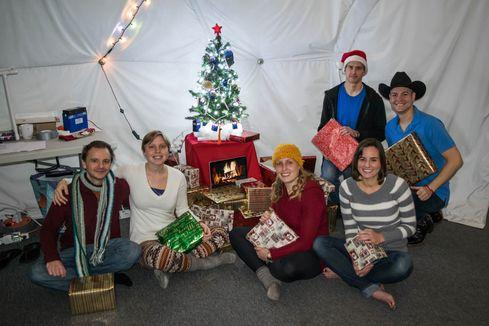 The HI-SEAS crew on Christmas.