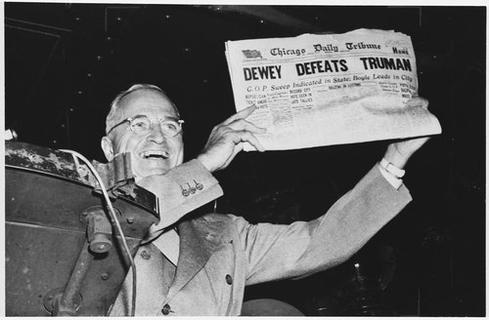 This one is tough to call, but we're going to go with Harry Truman. FDR made remarks at the World's Fair in New York in 1939 that were broadcast on TVs on the fairgrounds. But the first over-the-air TV broadcast by a President was by Truman in 1947. What took so long? Even when Truman made his broadcast, there were only about 44,000 TVs in America.&lt;br /&gt;&lt;br /&gt;<br /> (Image: National Archives)&lt;/p&gt;&lt;br /&gt;<br /> &lt;p&gt;