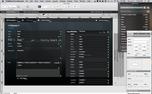 FileMaker 14 features a drag-and-drop development environment for database applications  (Image: Curtis Franklin, Jr., for InformationWeek)