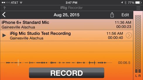 iRig Recorder is an easy to use app that works with both the iRig Mic series and the iPhone's built-in mic.  (Image: Curtis Franklin for InformationWeek)