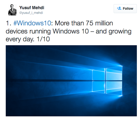 Windows 10: 75 Million Downloads And Counting