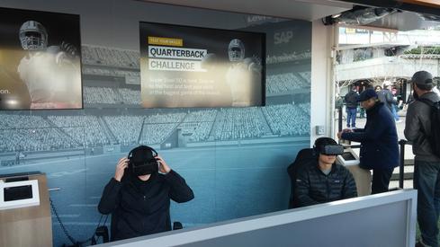 Armchair quarterbacks test SAP's Quarterback Challenge using Oculus Rift.  (Image: David Wagner)