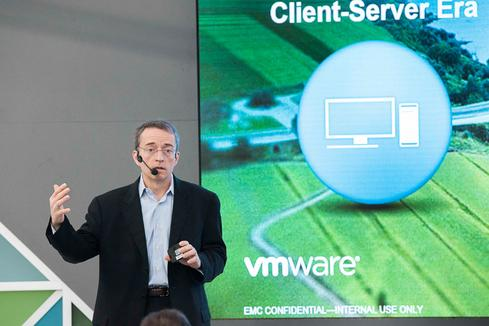VMware CEO Pat Gelsinger during a presentation at Mobile World Congress 2016
