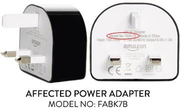 Image from Amazon UK website for correcting the Adapter problem, with the model number circled in red.