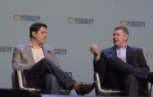 Greg Meyers, Motorola Solutions CIO (left) with Google for Work's Adam Swidler onstage at Enterprise Connect. (Image: Enterprise Connect)