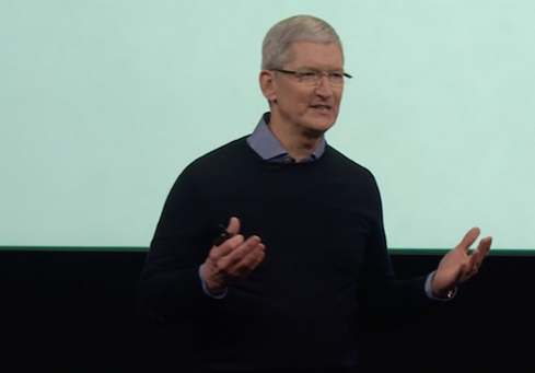 Tim Cook onstage at March 21, 2016 Apple Event  (Image: Apple via live stream screen shot)