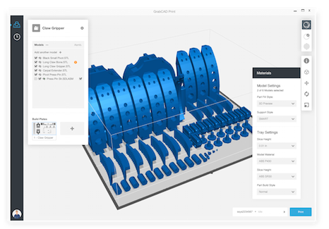 GrabCAD Print's Web-based interface allows users to share information from CAD files and details about the printing process to users on a wide variety of hardware platforms.