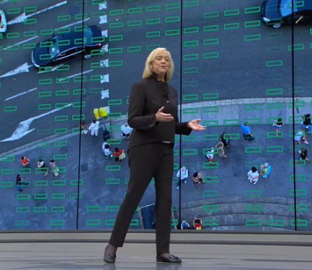 Hewlett Packard Enterprise CEO Meg Whitman delivers the keynote address at HPE Discover 2016 in Las Vegas. (Image captured via live stream of HPE Discover 2016, Las Vegas, June 8, 2016)