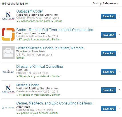 Current LinkedIn job postings asking for ICD-10 skills.