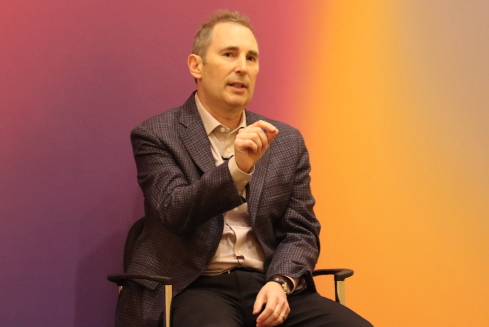 CEO Andy Jassy, AWS, addresses reporters at AWS re:InventImage: Joao-Pierre Ruth