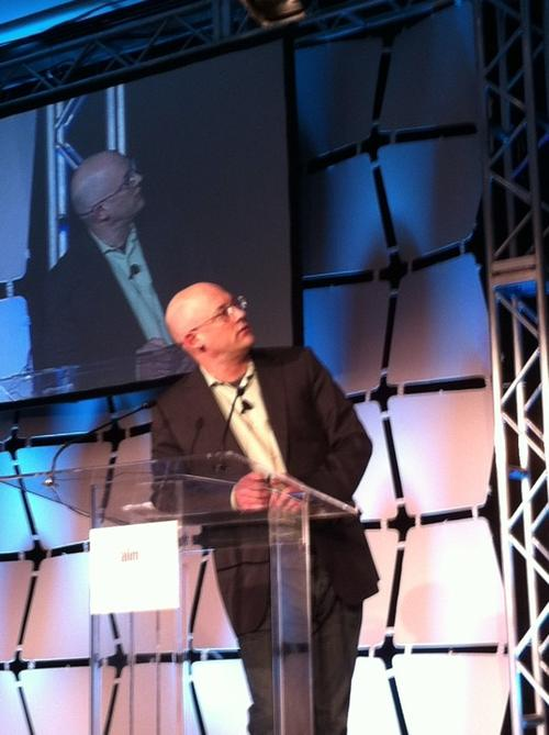 Clay Shirky makes a presentation at the recent AIIM conference in San Francisco. Source: Ron Miller.