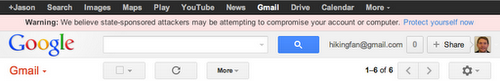 Google's warning about suspected Gmail attacks. (Source: Google)