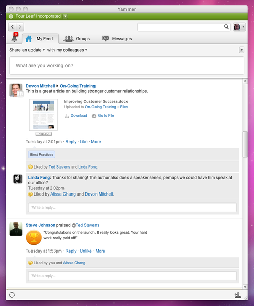 Yammer offers a microblogging platform for enterprises. Source: Yammer.
