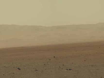 This color image from NASA's Curiosity rover shows part of the wall of Gale Crater, the location on Mars where the rover landed on Aug. 5, 2012 PDT (Aug. 6, 2012 EDT). This is part of a larger, high-resolution color mosaic made from images obtained by Curiosity's Mast Camera. Source: JPL.
