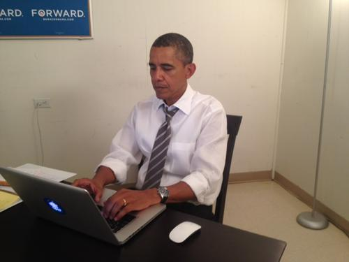 The image President Barack Obama issued to prove his presence on Reddit yesterday.