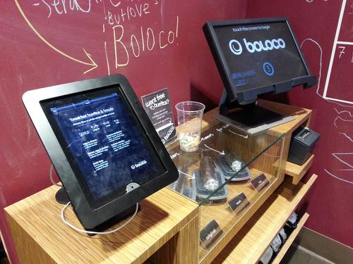 Boloco iPad for menu and Boloco touchscreen for ordering.