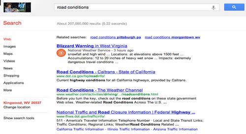 Google posted public alerts on Google Search and Maps during Hurricane Sandy. (Source: Google screenshot)