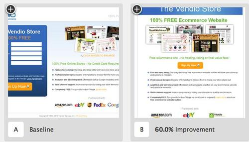 In these pictures, you can see the results of A/B testing done for Vendio. 