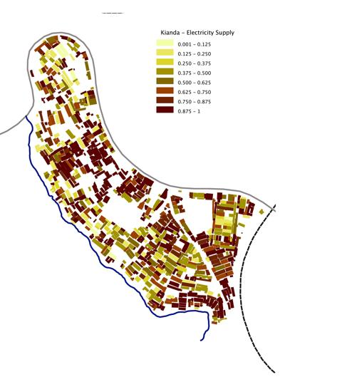 A map of the electric supply densities available in Kibera, Kenya, collected by local citizens.