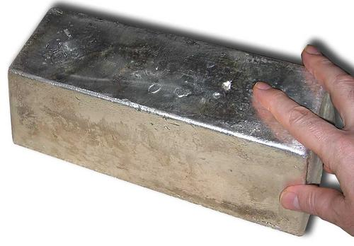 One 1,000-ounce silver bullion bar is tough to carry. One day, people may wonder how we ever managed to carry around coins and paper. (Source: Wikipedia)