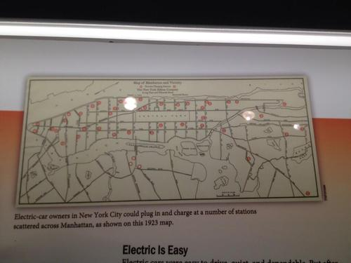 In 1932, you could charge your electric car all over NYC, according to this map at the Henry Ford Museum. (Source: David Strom)
