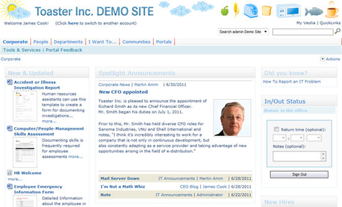Screenshot of demo company from Adenin's IntelliEnterprise.
