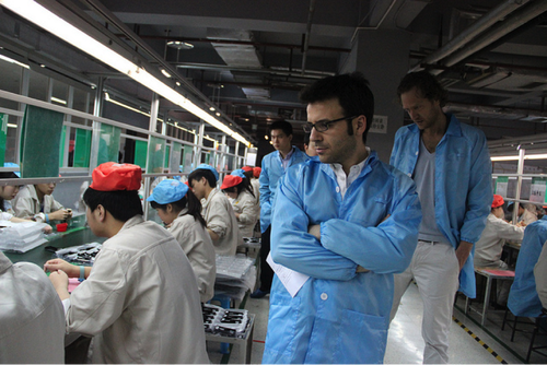 Miguel Ballester Salva (CTO, Strategic Product Designer, Fairphone), and Bas van Abel (founder, and CEO, Fairphone, Author Open Design Now), visiting manufacturer A'Hong in Shenzhen area, China (Source: Fairphone)