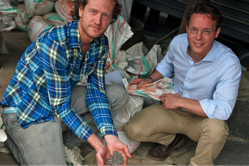 Bas van Abel and Jaime de Bourbon Parme (Conflict-Free Tin Initiative) during their visit to the mines in the Democratic Republic of Congo.