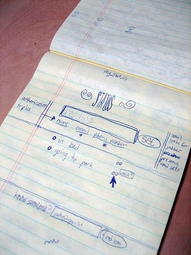 Co-founder Jack Dorsey's original sketch for Twitter. Photo source: Dorsey.